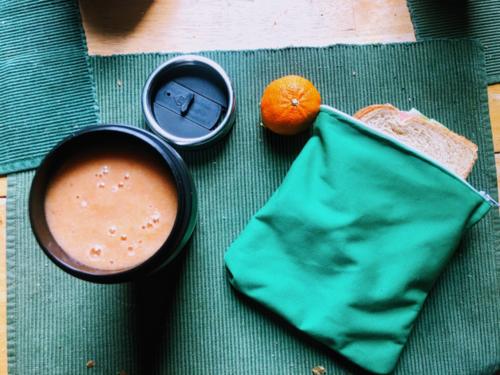 Julia's lunch featuring a reusable eco-pul sandwich bag