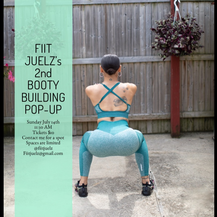 GET YOUR TICKETS NOW! - EMAIL or dm with subject (2nd Booty Pop-up) to order your ticketsTickets must be purchased in advanceno walk-ins6o minute booty building workoutcool-down / tips on how to stretch after workoutssmall muscle rebuilding shakes provided after class