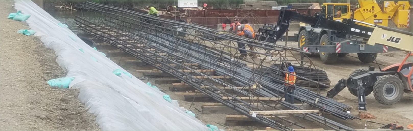 A rebar cage being constructed at the River S Bridge site.