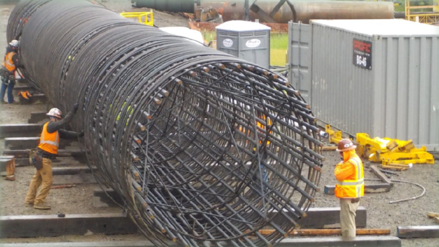 A rebar cage for the ten-foot diameter piers.