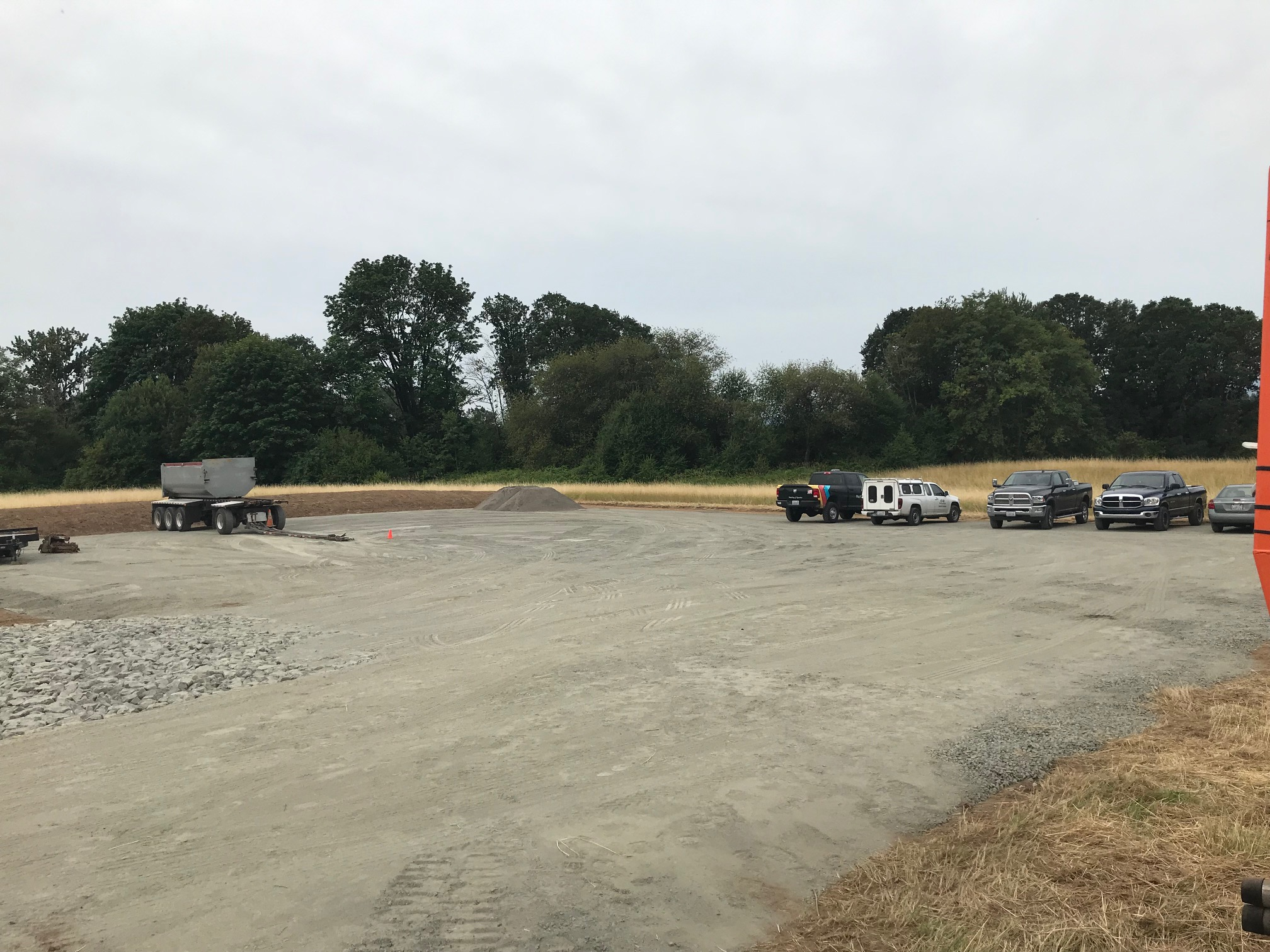 This curious gravel pad at the Carty Unit entrance is a staging area for the Main Avenue Project crew. They'll be able to store their equipment without using what is already limited Refuge parking space. BONUS FACT: The gravel pad was created with a membrane underneath, meaning the gravel can be completely removed at the end of the project and vegetation easily replanted in that area.