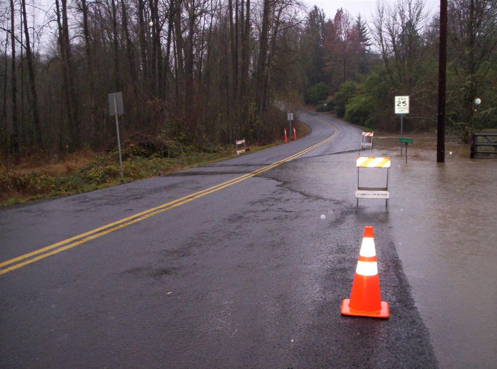 An example of the Main Street and Gee Creek intersection during a major rain event.