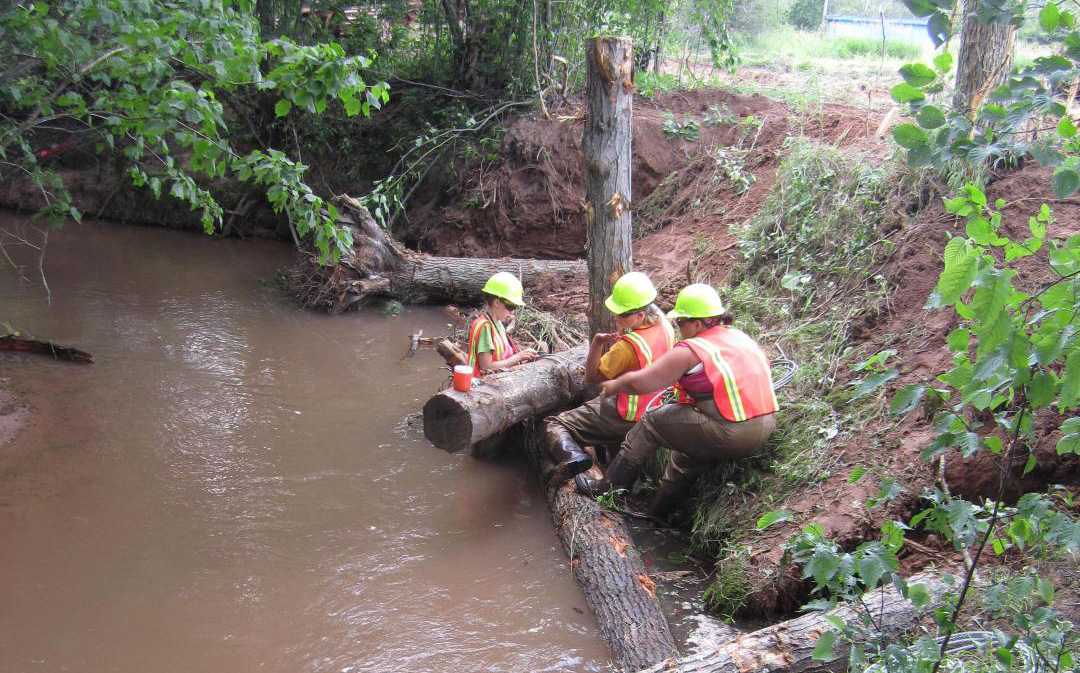 An example of placing woody debris in a stream restoration project. Photo by Inter-Fluve, Inc.