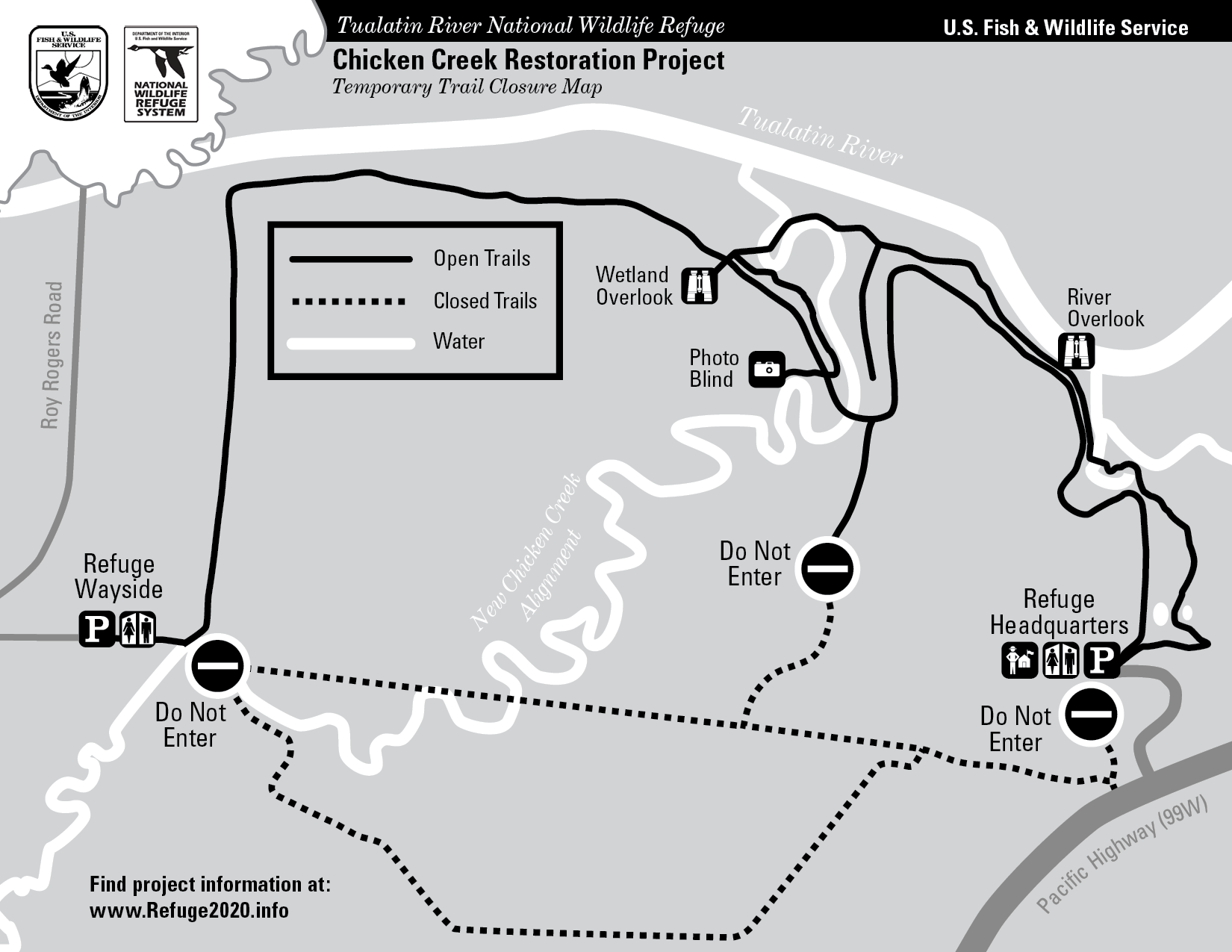 During delivery of woody debris, the dotted portions of the trail are closed. Signs are also posted onsite.