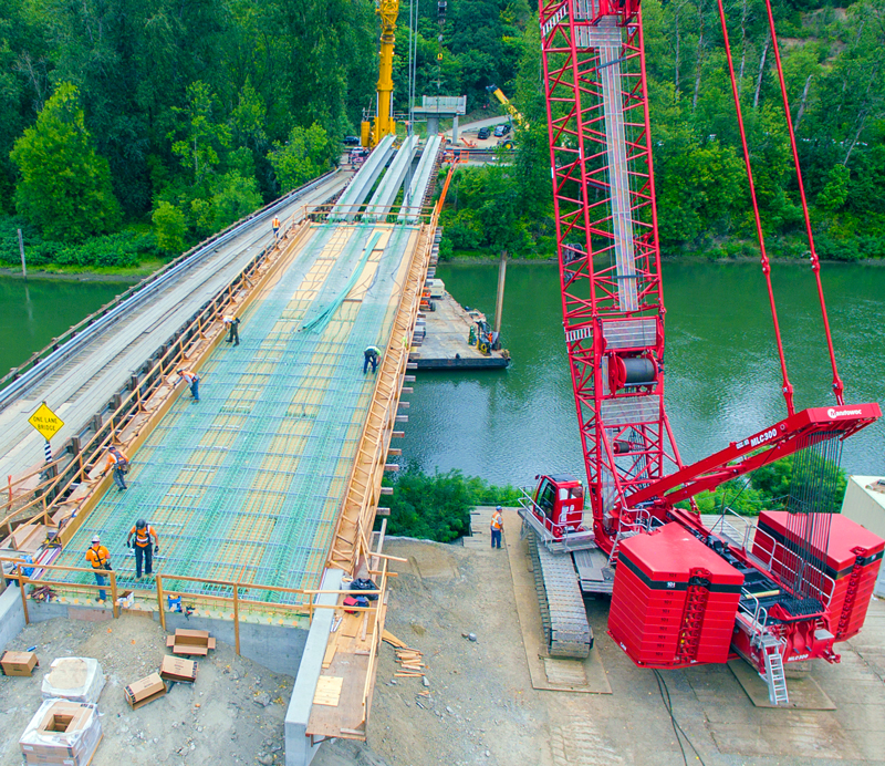 The new bridge is being built directly next to the old bridge. The Auto Tour Route can be accessed on Saturdays and Sundays during bridge construction.  Photo courtesy of Ceccanti, Inc.