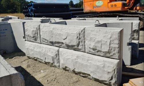 Concrete blocks for the wing walls.