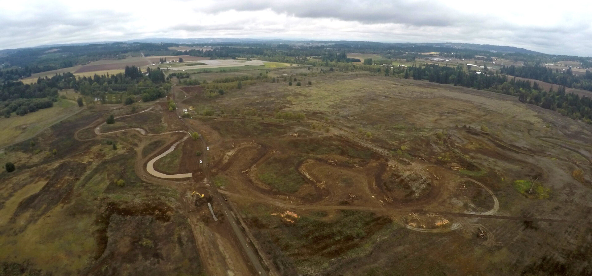 A 400-foot view of the project shows the curvature of the new Chicken Creek channel.