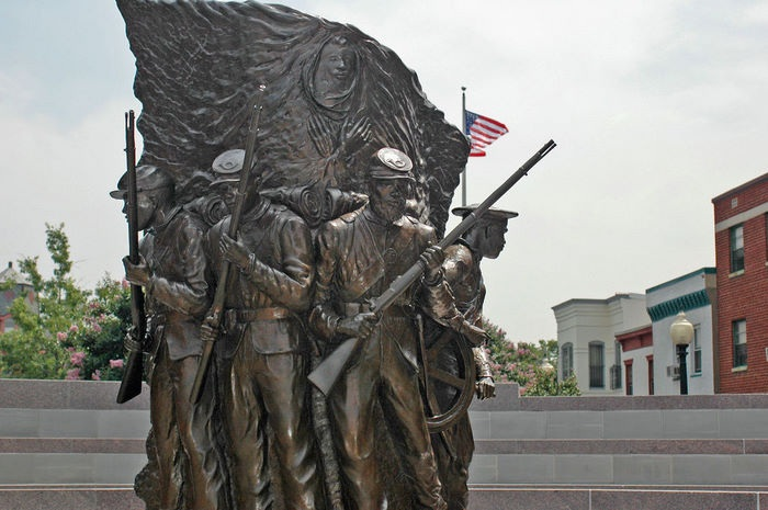 The African American Civil War Memorial's  sculpture,  Spirit of Freedom  was unveiled in 1998.