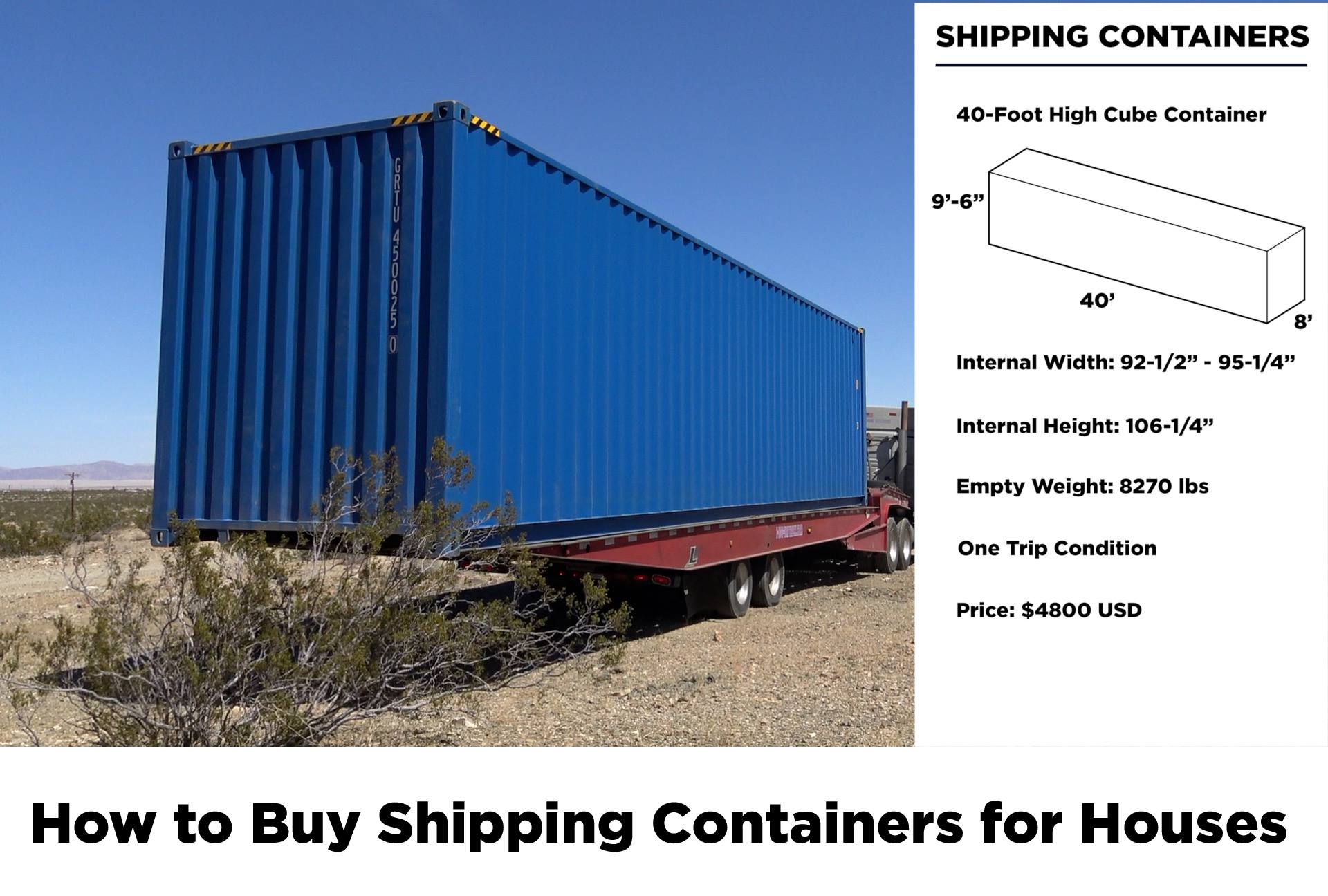 I bought two 40-foot High Cube Containers and one 20-foot high cube container from  Container Discounts