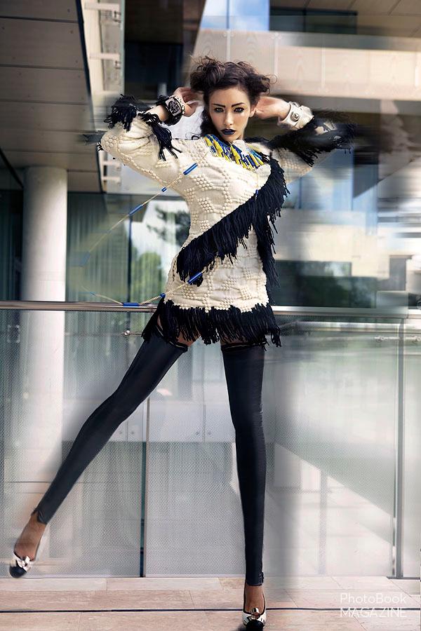 Necklace –  Lariucci , Dress –  Custo Barcelona , Leggings –  Custo Barcelona , Shoes –  Phi