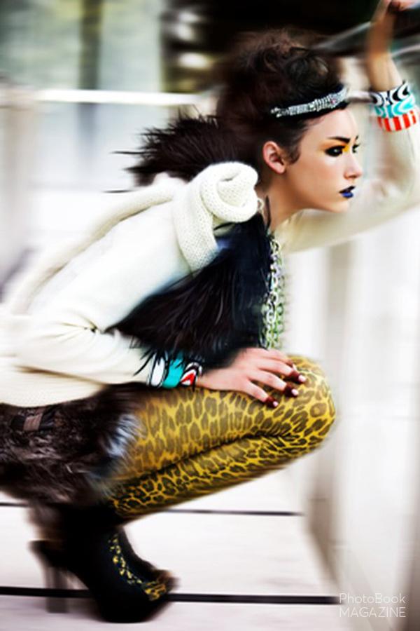 Headband – D. Caruso, Sweater –  Stine Ladefoged , Wings –  Johnny Couture , Necklace –  Silvia Tcherassi  Bangles –  Circa Sixty Three , Tights –  Look From London , Shoes –  Siliva Tcherassi