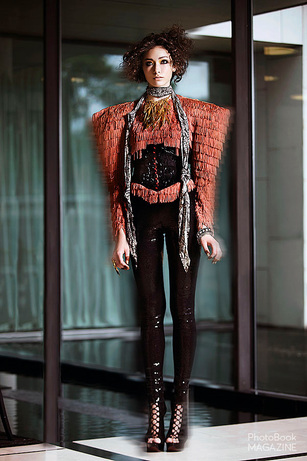 Collar –  Lariucc i, Scarf – Vintage  Betsey Johnson , Jacket –  L'Armoire Du Styliste , Corset – Déola Sagoe Ring –  Lariucci , Bangles –  WAM Bands by Whitney Marbach Leggings  – Elena Antionades, Shoes –  Silvia Tcherassi