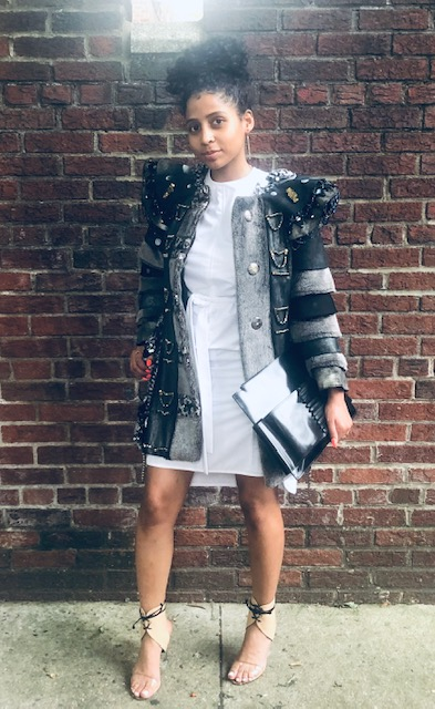 Crystal Is Wearing: White Dress By  Aknvas , Jacket By  Minzkou , Shoes By  Ritch Erani , Earrings By  Simon Alcantara , Clutch By  The Confessional Showroom