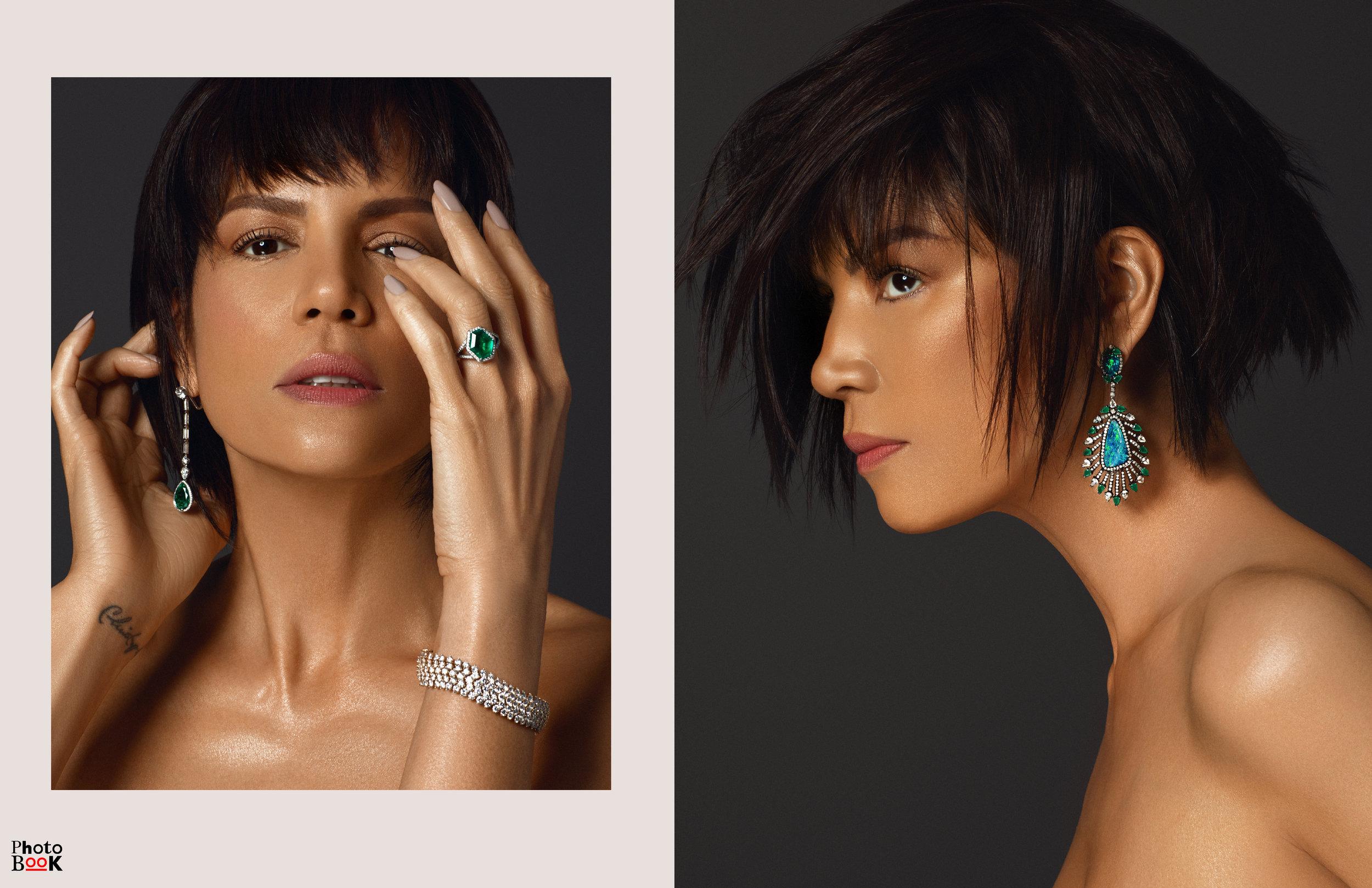 Left:  Earrings: Rafka Silhouette Diamond and Emerald Drop Earrings Ring: Friman & Stein Vintage Diamond and Munoz Mine Emerald Ring Bracelet: David Webb Convertible Diamond Bracelet  Right:  Earrings: Vintage Diamond and Black Opal Feather Drop Earrings