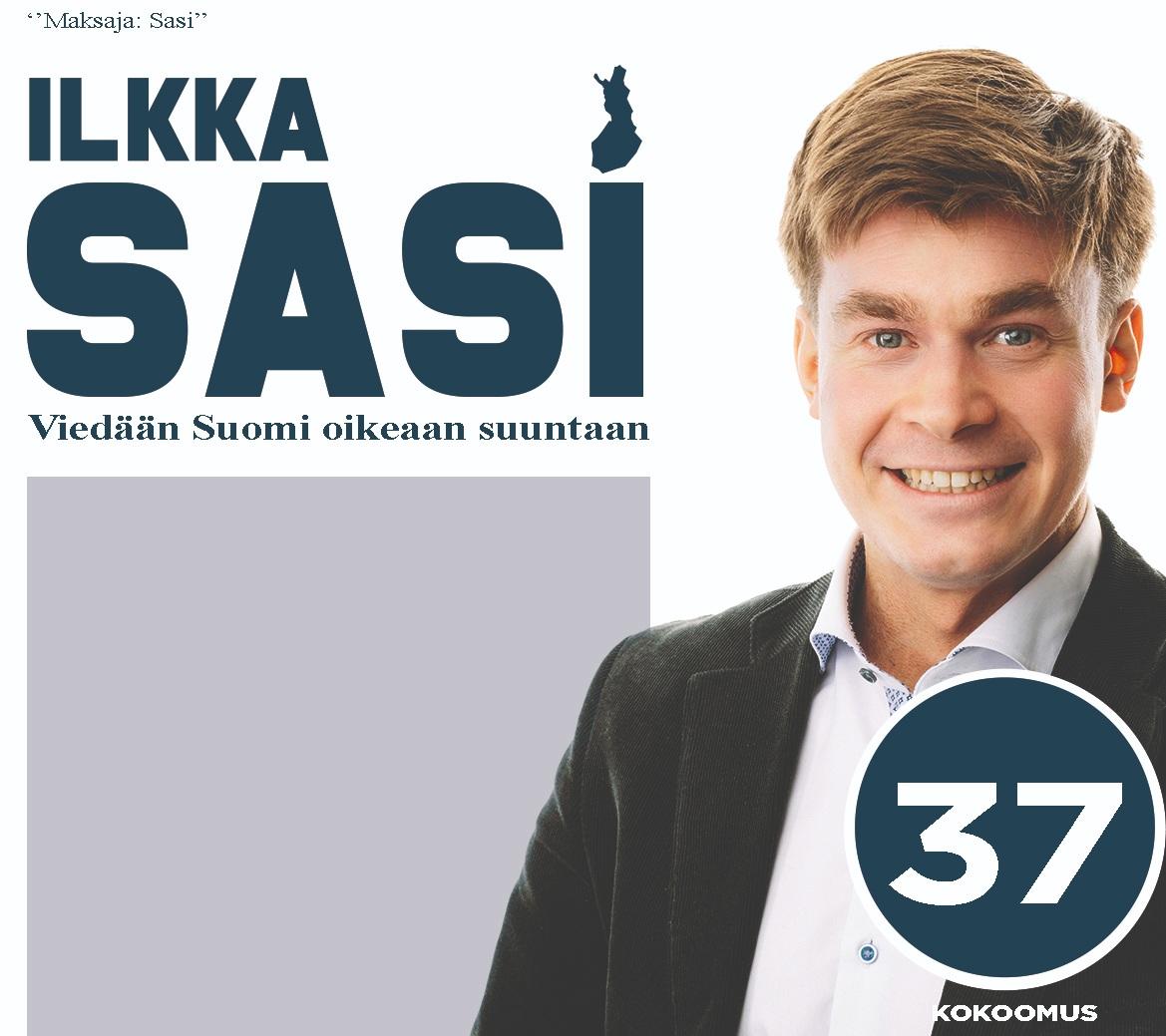 Ehdolla eduskuntaan numerolla 37.  Haluan viedä Suomen oikeaan suuntaan.