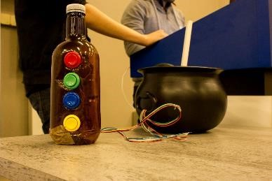 Custom controller:    Bottle with tilt and button controls, cauldron with stirring controls