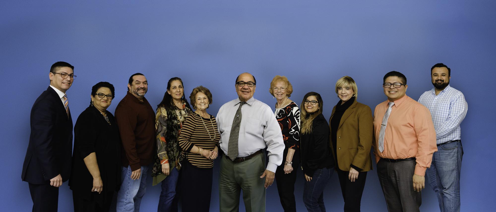 Left to right: Ebrahim Morales, Letty Leija, Leonel Guerrero, Mary Lou Escobedo, Bennie Kay Carlson, Agustin Lozano, Vivian Martin, Sonia Gonzalez, Maria Elena Macias, Magdiel Castle, Pedro Perez.