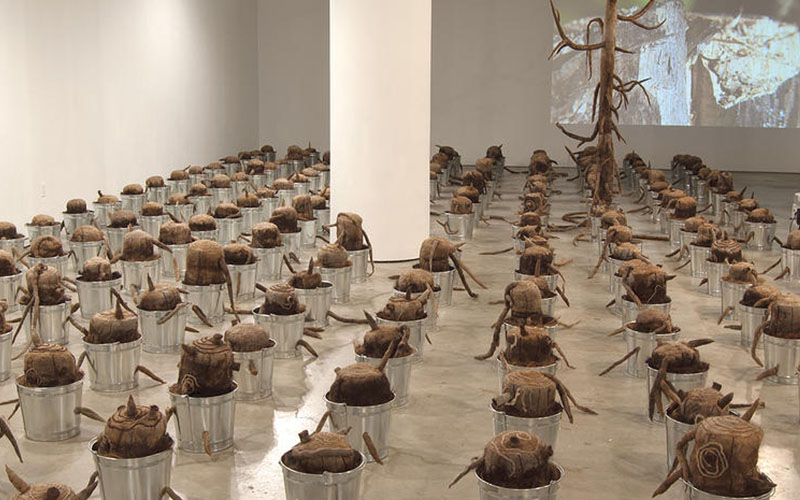 "The Last Tree   is a monumental installation of 193 tree stump sculptures encased in metal pails and placed in a grid formation to transform the gallery space into a barren landscape. The number of stumps corresponds to that of the countries in the world, namely, those members of the United Nations. One large tree rises from the grid, as a symbol of the ""last tree,"" which is in danger of its extinction from the earth. The devastated stumps are poised to witness the destruction of the ""last tree"" – a fate that humanity is bringing onto itself. Accompanying video projections and sounds amplify the urgency of the situation.    The Last Tree   was shown at the ISE Cultural Center in 2013 and traveled to the Birchfield Penney Art Center in 2016.    ISE Cultural Center"