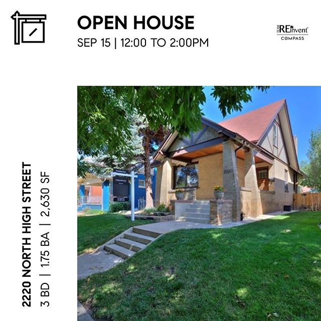 Come see us at 2220 N High Street for an Open House from 12-2PM today #teamreinvent #denverrealestate #openhouse