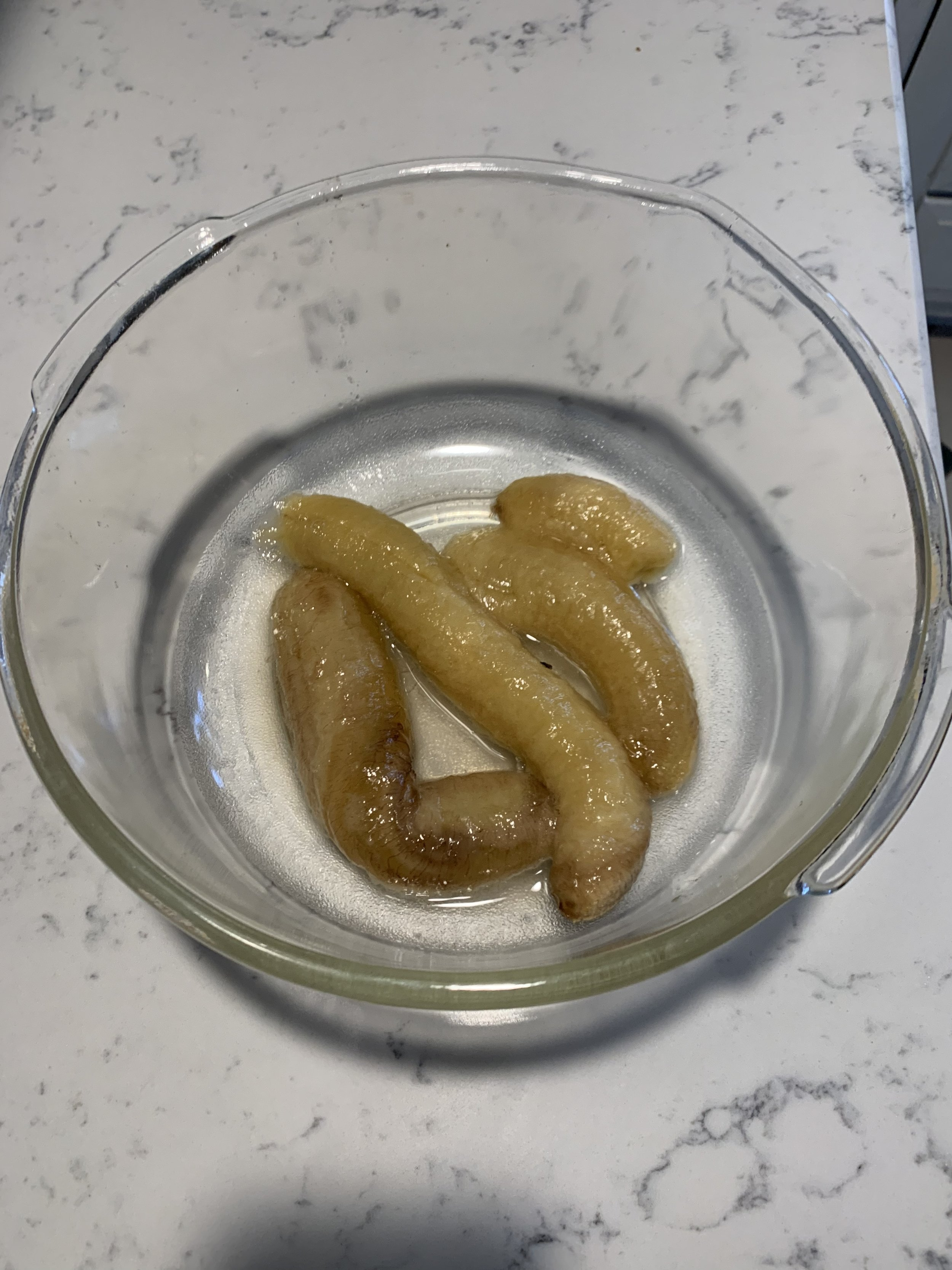 Slimy looking bananas from the freezer. Use 3 very ripe ones with brown spots if you're not using