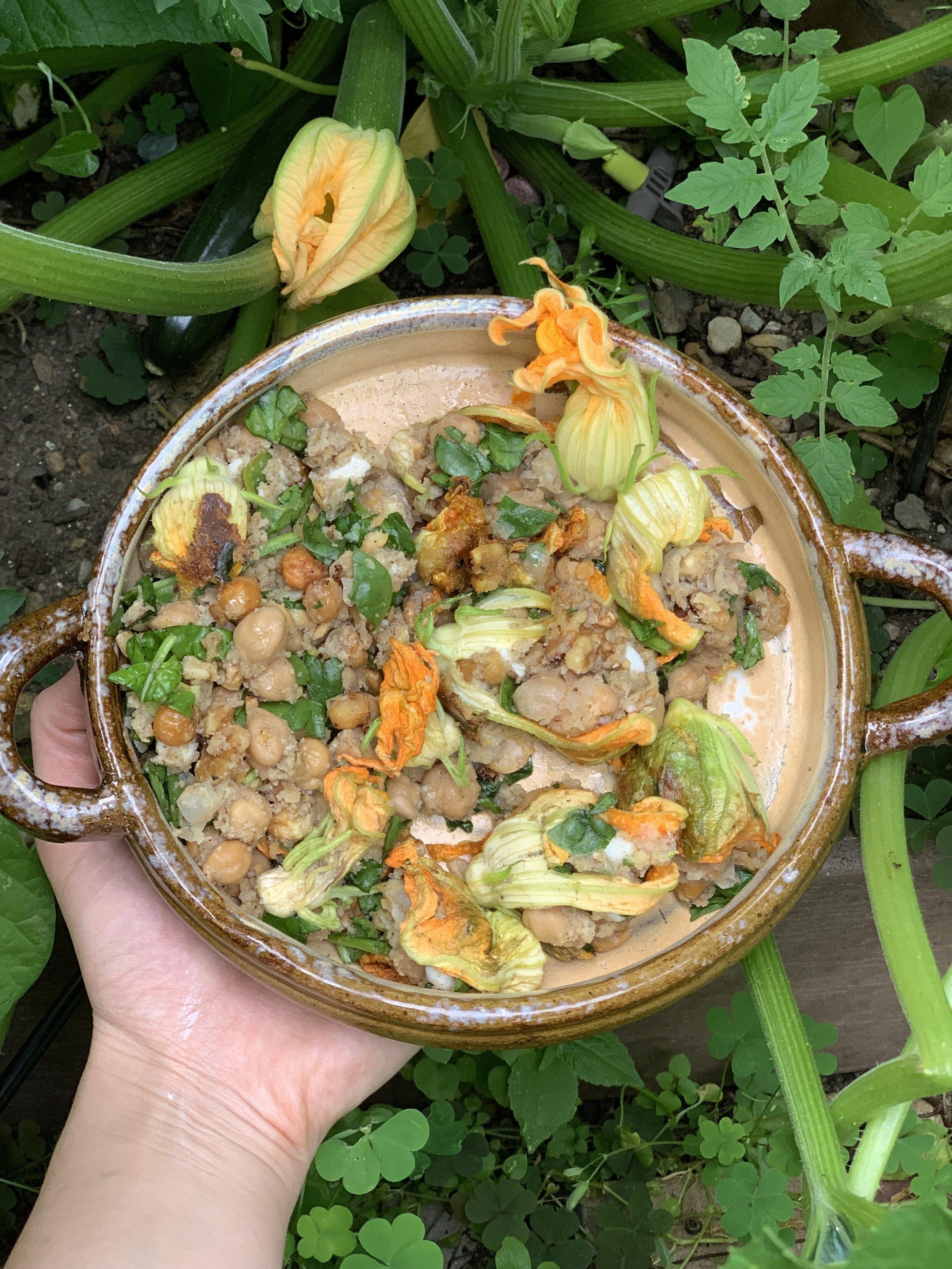 vegan stuffed zucchini squash blossoms