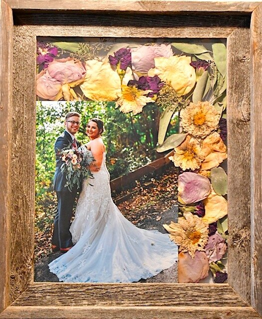 11 x 14 flower press with 8x10 photo.