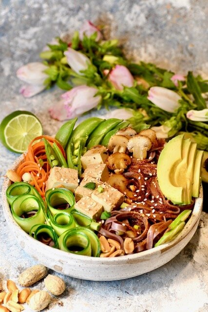 Vegan Chili Sesame Cold Noodle Bowl with Summer Veggies