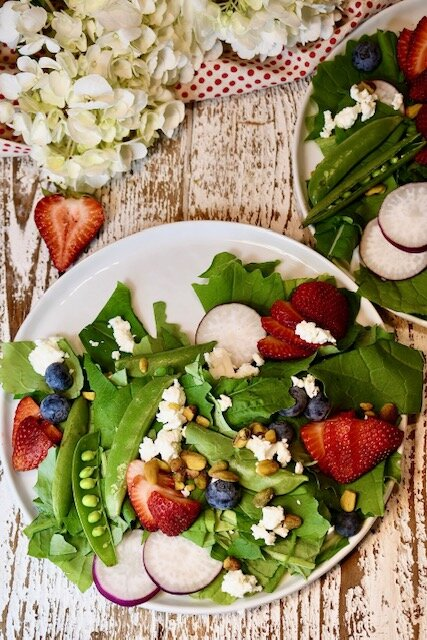 Spring Time Turnip Green and Berry Salad