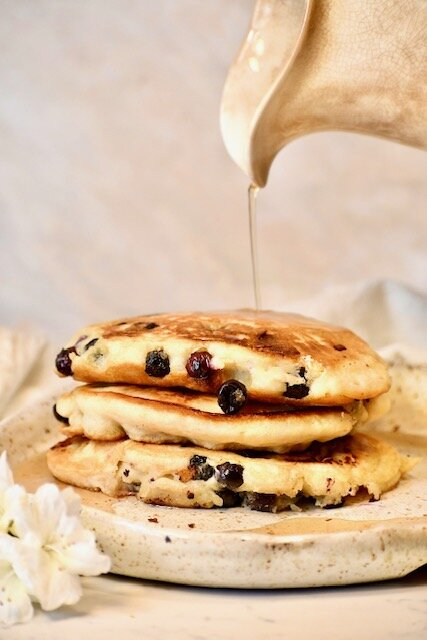 Simple blueberry pancakes