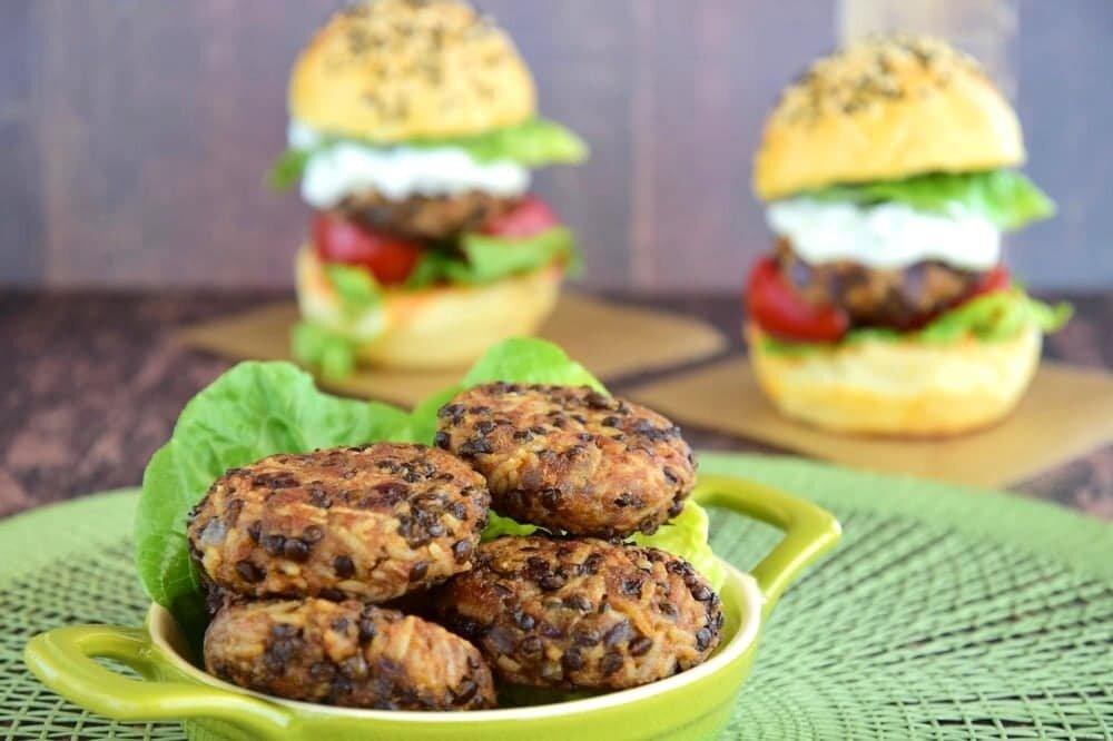Air fried lentil burgers