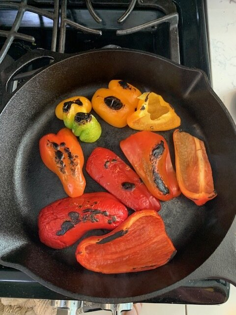 roasted red peppers in cast iron skillet