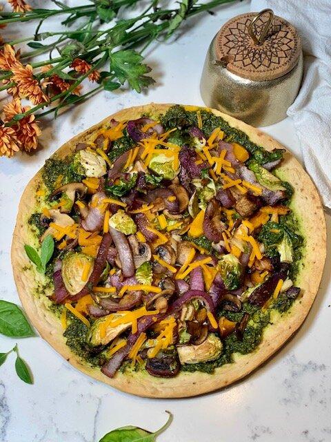vegan kale pesto pizza with squash