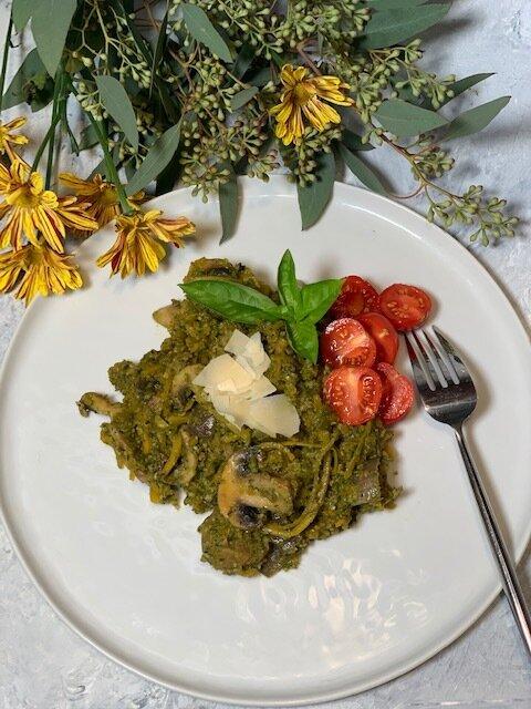 vegan kale pesto squash noodles