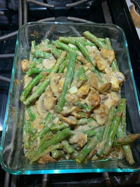 vegan green bean casserole add fried onions