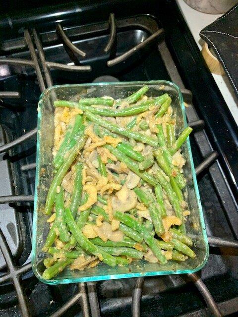 vegan green bean casserole process shot