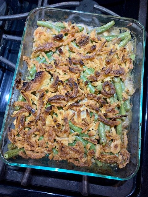 vegan green bean casserole finished process shot