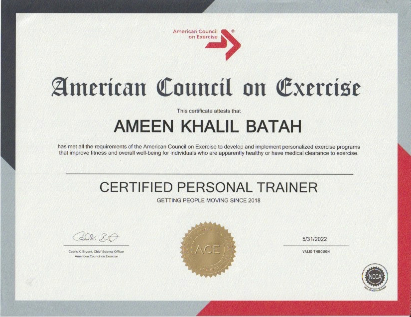 ACE - Certified Personal Trainer Certification -