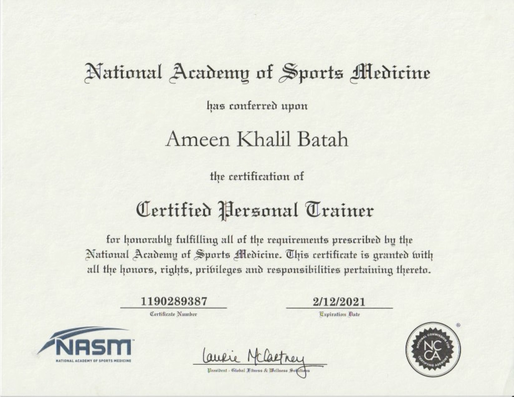NASM - Certified Personal Trainer Certification -