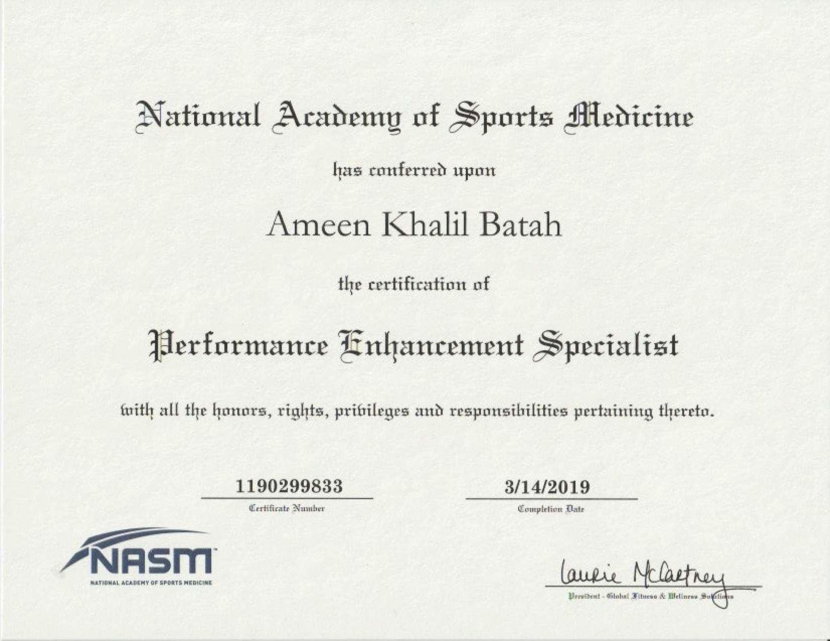 NASM - Performance Enhancement Specialist Certification -