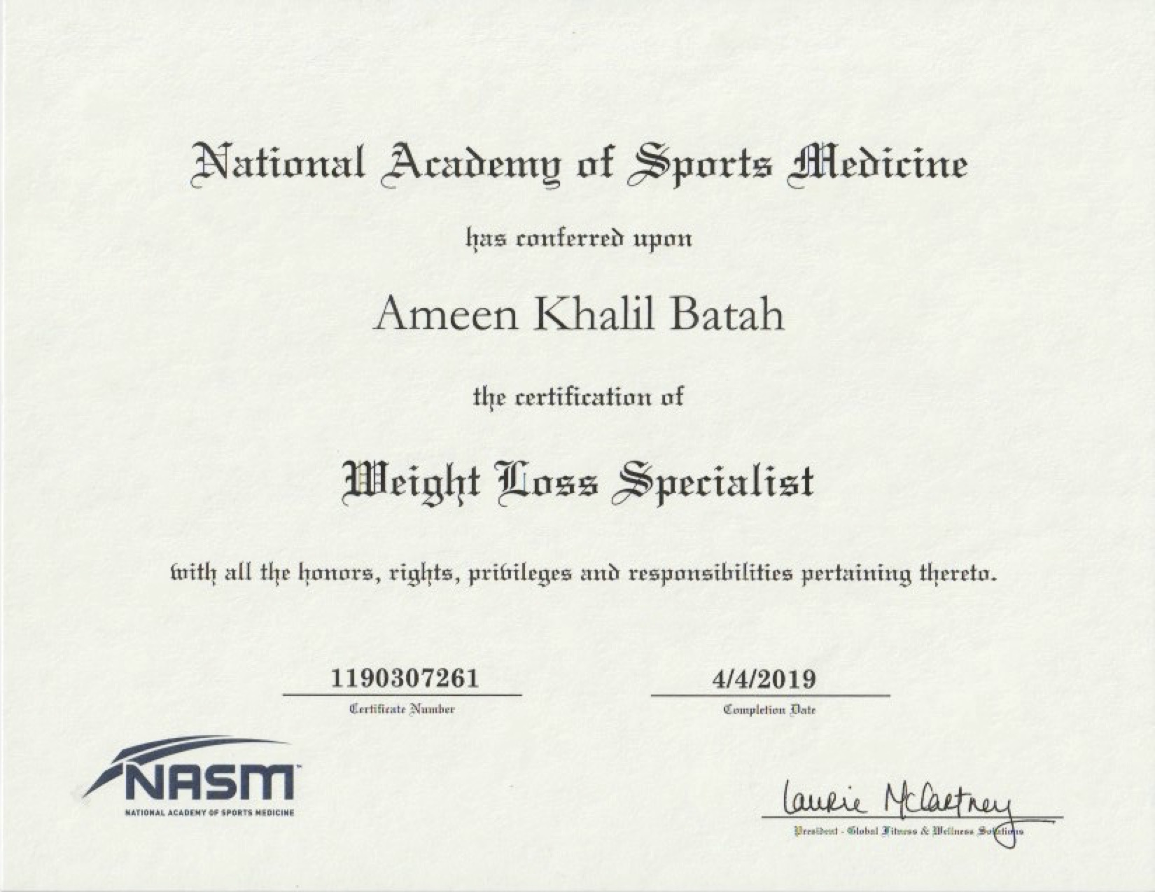 NASM - Weight Loss Specialist Certification -