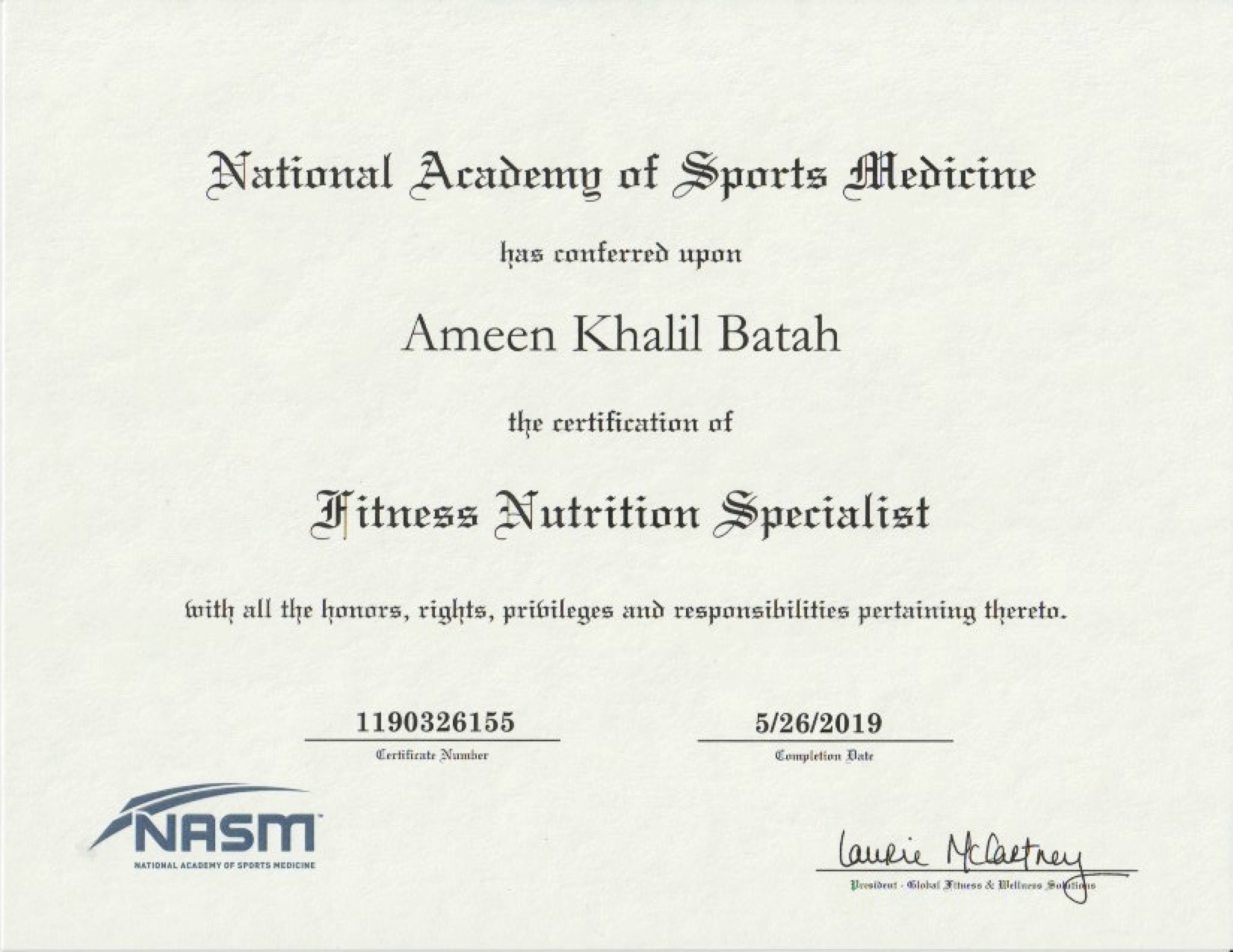 NASM - Fitness Nutrition Specialist Certification -