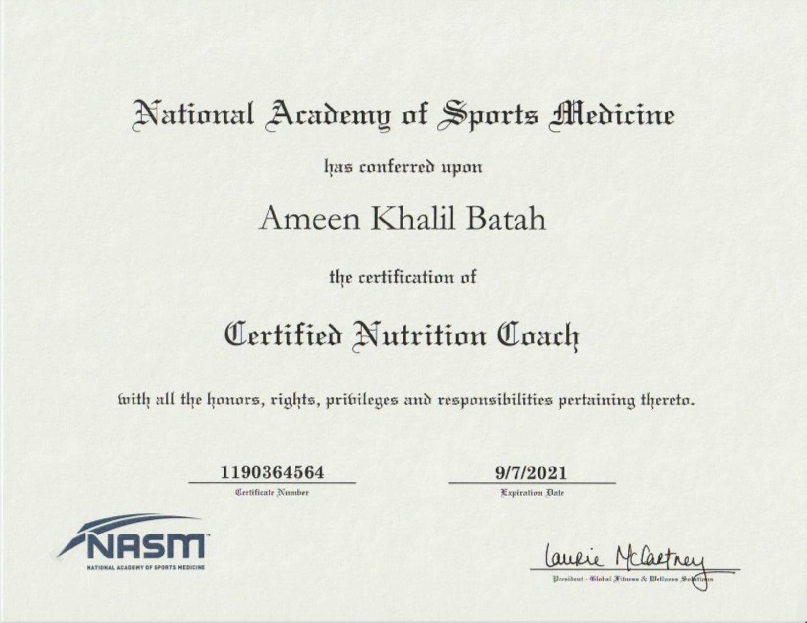 NASM - Certified Nutrition Coach Certification -