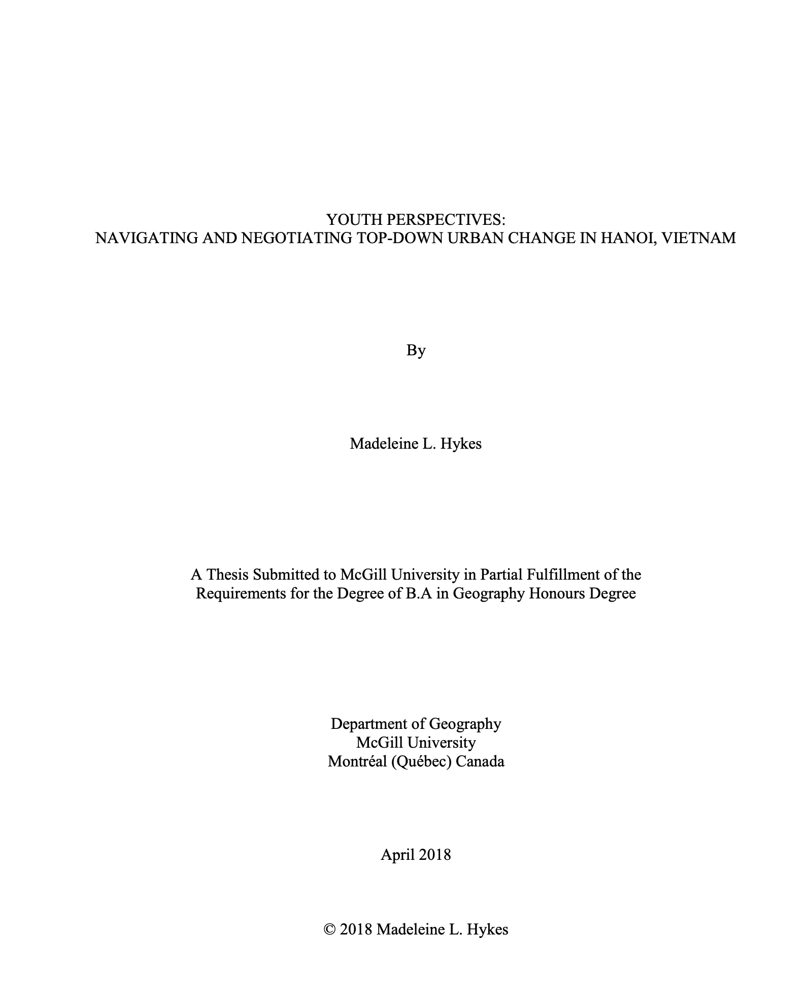 Link to my Honour's Thesis