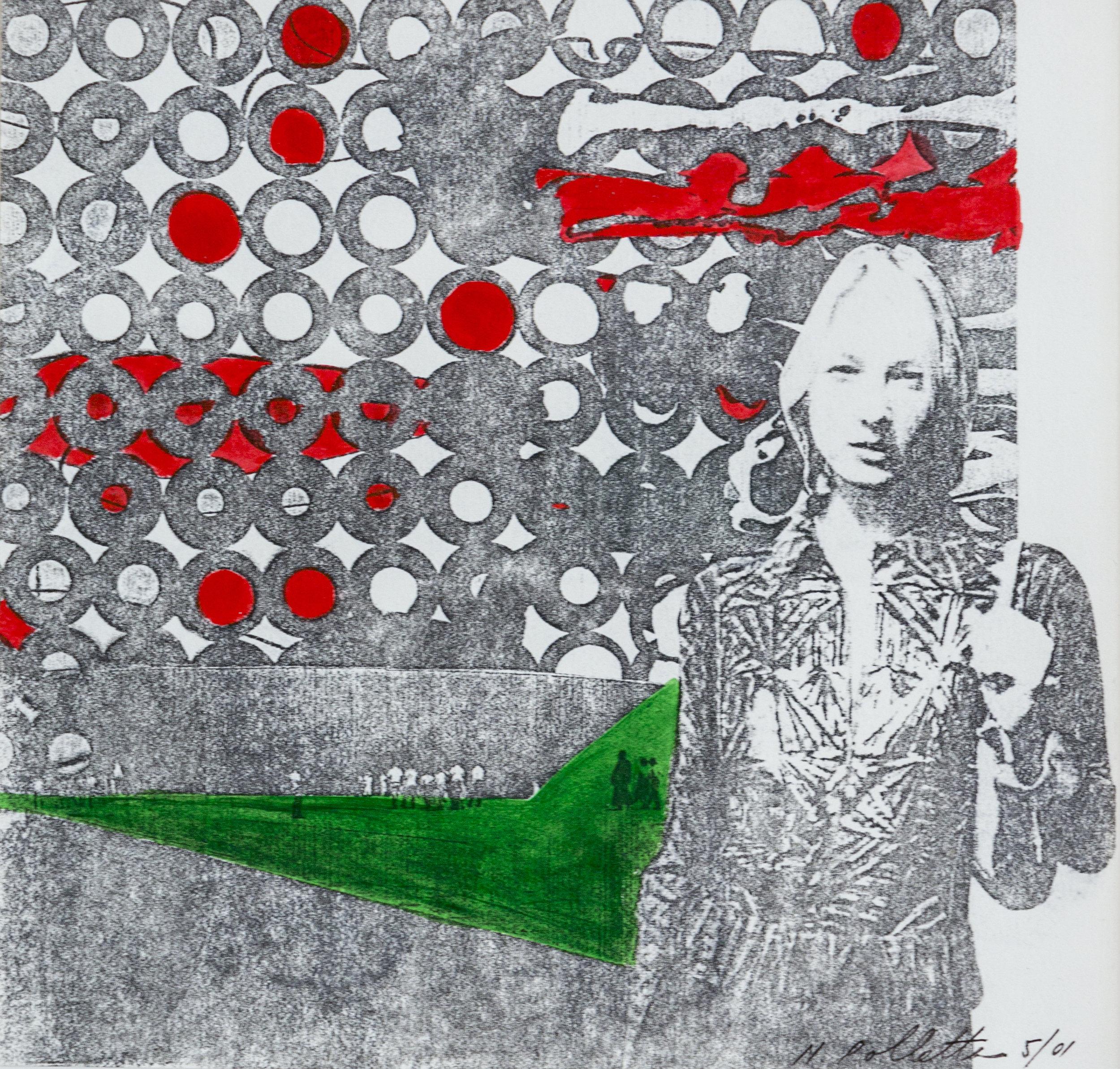 Nicole Polletta Studio Mixed Media Collage Utopian Dystopia series  keep your eyes  on the road