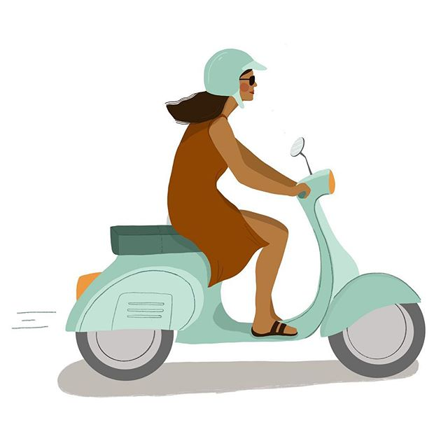 014/100 - Scooter Love. I am not really good in being persistent with things, also I am in such a chilled state of mind right now that I don't force myself to anything. But I keep up with the challenge, even if it might take me the whole year 🤣 #100daychallange #scootergirl #vespa #scooters #girlswhotravelsolo# #digitalart #digitaliilustration #dojobali #coworkinginbali #portraitillustration #portraitdrawing #womenportrait #procreateportrait #portraitillustration #procreateart #100daychallenge #100daychallenge2019 #100daysofdrawing #fashionillustration #digitalart #illustratorsoninstagram #procreate #annisdrawingdaily #illustratorsofinstagram #procreateillustration #procreateart #travellingartist #digitalart #digitalnomad #girlswhotravelsolo #travelgram #backpacking #girlswhobackpack