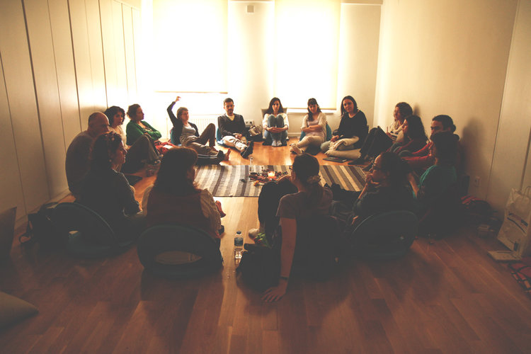 Group Council Calls - Each month we have a communal 120 min. online council call to share personally where we're at, to listen, to be informed by one another's experiences, to get curious, and to connect as a collective around that module's topic of discussion.