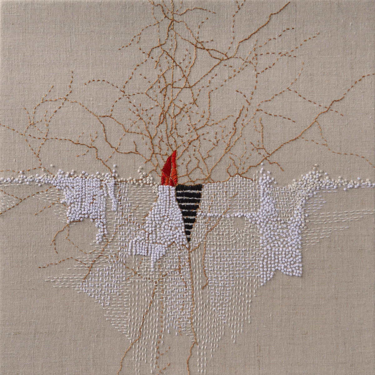 "Winter Flame, 2016, pearl cotton on linen, 14"" x 14"""