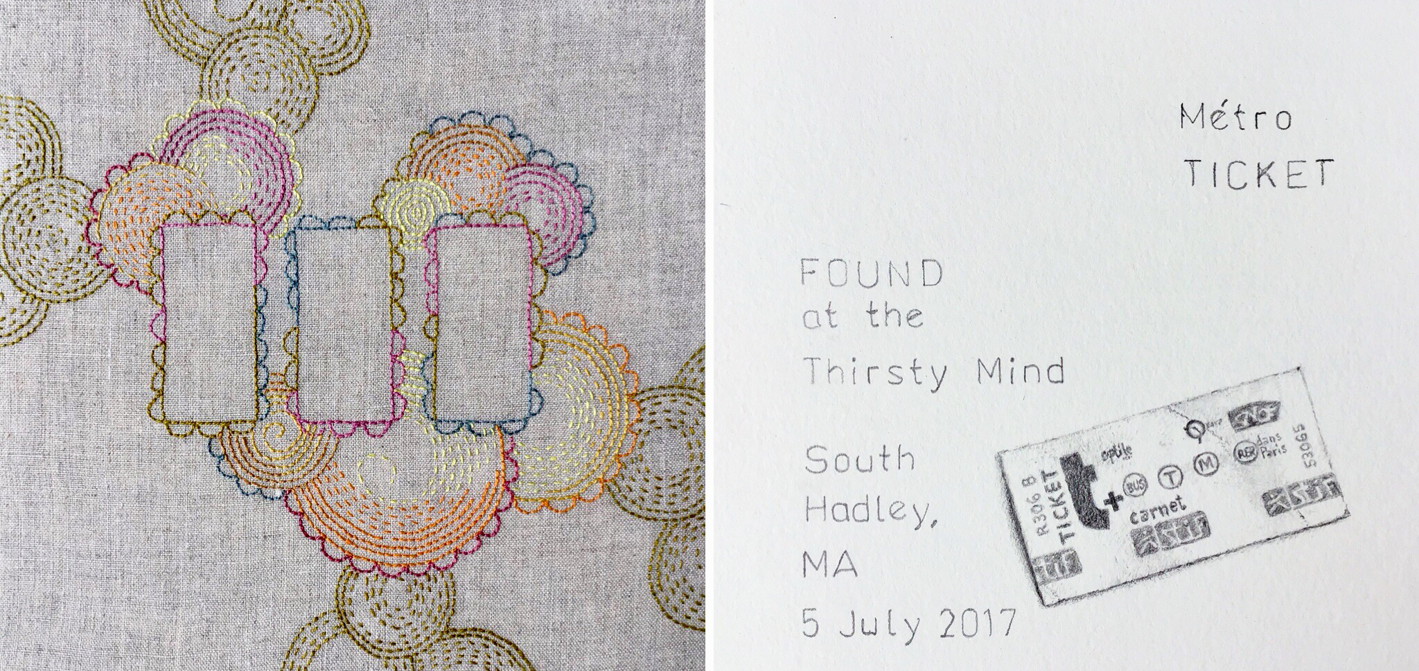 Presence/Absence: Metro Ticket, 2017, pearl cotton on linen and graphite on paper (found object diptych)