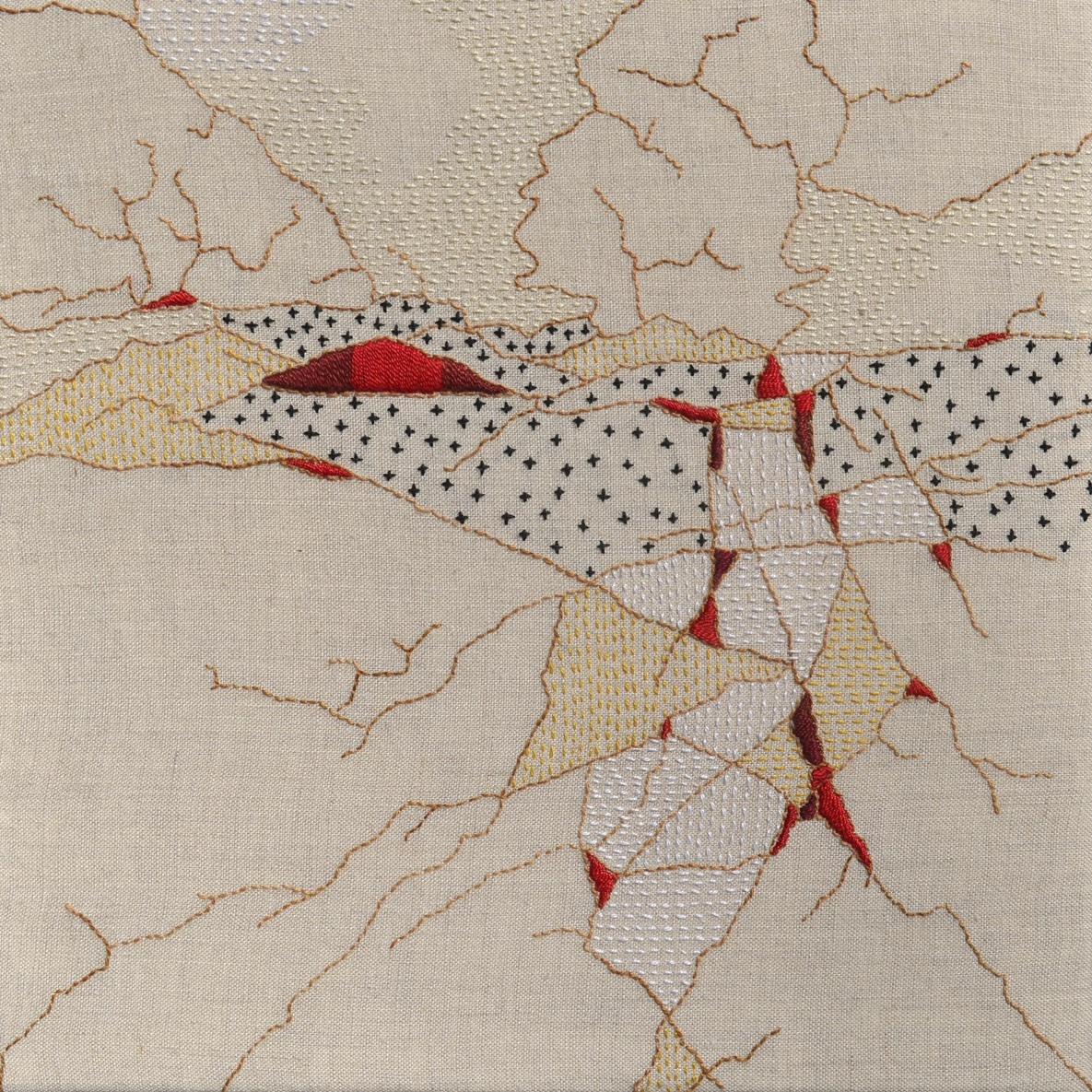 The Red Hill, 2014, pearl cotton on linen, 14 x 14 inches, private collection