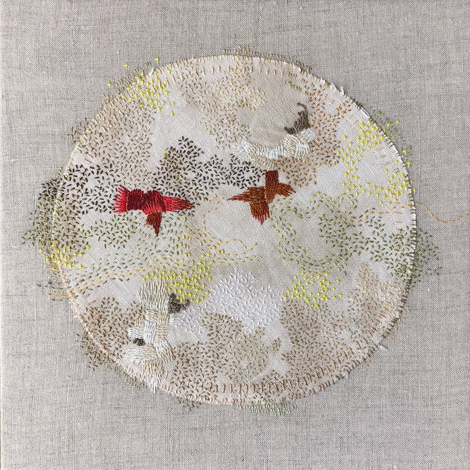 "Bonnie Sennott,  A Year in Thread: March , pearl cotton, walnut-dyed linen, and linen, 12"" x 12"" (2016)"